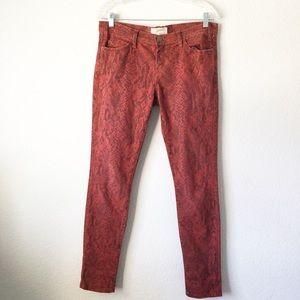 Current/Elliot Red Snakeskin Printed Skinny Jeans